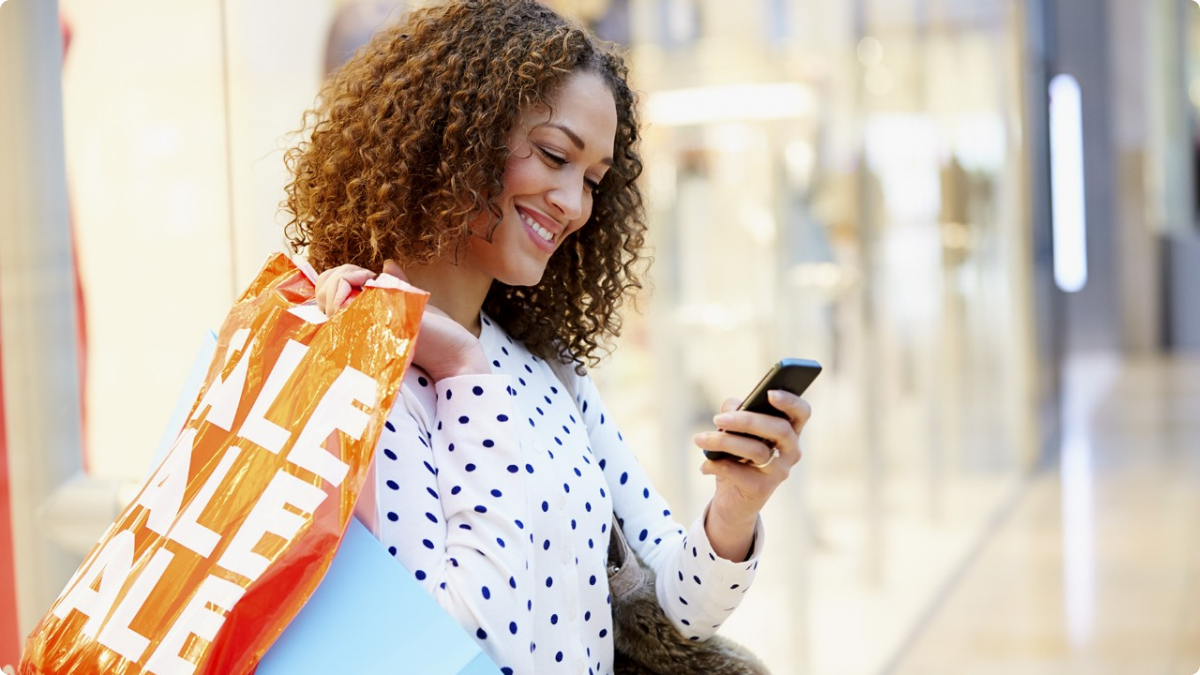 A customer receiving loyalty rewards via SMS